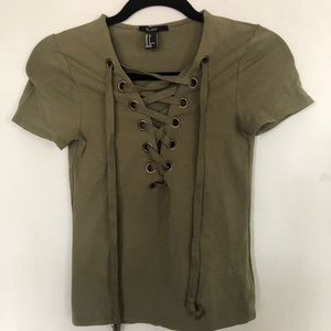 Crisscross olive green top